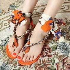 Women's Stylish Summer Lace Up Flat Heel Flip-flops Design Sandal - Shoes - Women Clothing