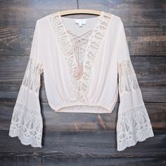pleased to meet you bell sleeve peasant top - blush