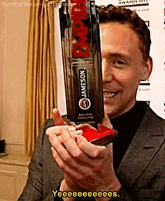 Tom Hiddleston after winning Best Male Newcomer Award at the Jameson Empire Awards 2012 for his role of Loki in Thor. Gif-set (by tomhiddleston-gifs.tumblr): http://maryxglz.tumblr.com/post/150810929257/tomhiddleston-gifs-tom-hiddleston-after