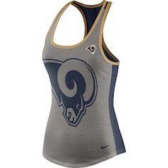e24ae9809 Women s NFL Pro Line by Fanatics Branded Heathered Gray Navy Los Angeles  Rams Overtime Flow Out Tank Top