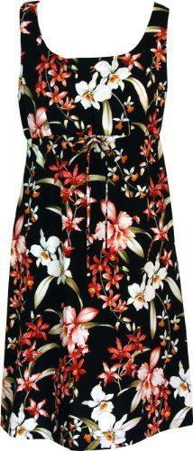 RJC Womens Divine Orchid Empire Tie Front Short Tank Dress in Black  1X Plus ** Click image for more details.