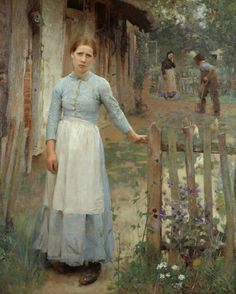 Sir George Clausen 1852-1944. The girl at the gate 1889 (reminds me a lot of Carl Larson's early work)