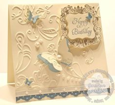 Elementary Elegance    Poster: genny_01    Stamps: Elementary Elegance  Paper: SU  Ink: Not Quite Navy  Accessories: Elegant Lines folder, Curly Label Punch, Beautiful Wings Embosslits, Basic pearls  Techniques: die cutting, stamping, embossing