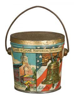 PATRIOTIC TIN CANDY PAIL, 1920's