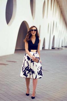 Tendencias de moda: Faldas Midi - Moda en Calle                                                                                                                                                                                 Más