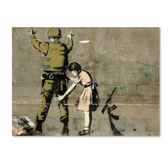 This ready to hang, gallery-wrapped art piece features a photograph of graffiti art depicting a little girl in a pink dress searching a soldier who is facing the wall. Banksy is an English graffiti ar