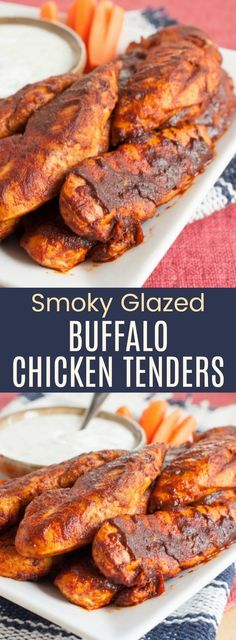 Smoky Glazed Buffalo Chicken Tenders - only four ingredients and a few minutes to make this easy dinner or game day appetizer. This spicy chicken recipe is also low carb, gluten-free, and paleo friendly. Buffalo Chicken Tenders, Grilled Buffalo Chicken, Easy Appetizer Recipes, Yummy Appetizers, Dinner Recipes, Dinner Ideas, Buffalo Recipe, Spicy Chicken Recipes, Keto Chicken