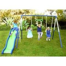 Metal Swingset Outdoor Swing Playground Slide Toy Playset Kids Swings Monkey Bar