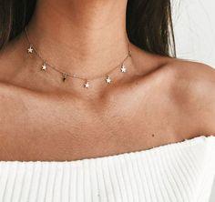 Brandy Melville Silber Strass Sternen Mode Halsreifen Halskette Nwt Modeschmuck