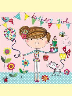 Rachel Ellen - birthday girl card - bunting and balloon