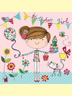Rachel Ellen - birthday girl card - bunting and balloon
