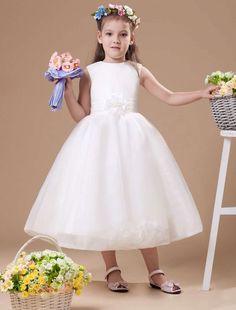 Romantic Ivory Satin Flower Girl Dress - Party Dresses