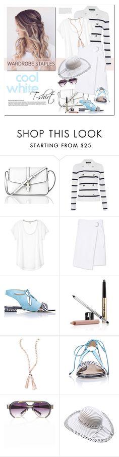 """Wardrobe Staple: White T-Shirt"" by drn57 ❤ liked on Polyvore featuring L.K.Bennett, Lauren Ralph Lauren, Tory Burch, Chelsea Paris, Trish McEvoy, Chan Luu, Prabal Gurung and WardrobeStaple"
