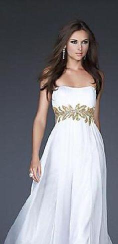 Fashion White Chiffon Empire Tube Long Evening Dress In Stock lkxdresses16542cfg #longdress #promdress
