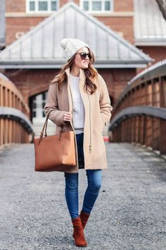 The winter coat that everyone needs to own this winter is a basic neutral winter coat. Styled by Peaches In A Pod blog, this is the perfect winter coat outfit idea.
