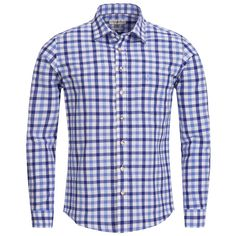 Trachtenhemd Slim Fit zweifarbig in Blau und Hellblau von Almsach