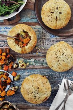 Roasted Autumn Vegetable Pot Pies - Vegetarian Thanksgiving Dishes That Even Meat-Eaters Will Love - Photos