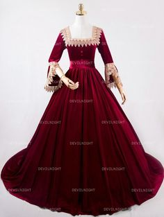9ddc322f37 Wine Red Velvet Victorian Dress Vintage Evening Party Gothic Masquerade  Costume  DRoseBlooming  Victorian Victorian
