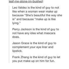 This is one of the most accurate representations of the guys I've seen in a while<<<< I don't think Leo would say makeup is like lying tho