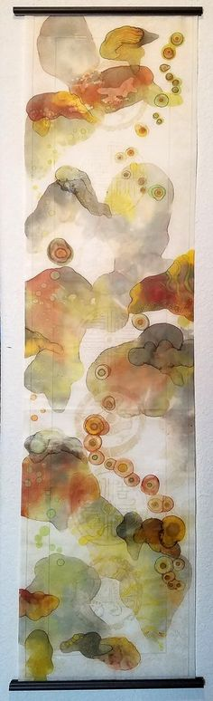 "Mixed Media Scroll Painting ""Soft Awakenings"" 13.75X53 By Elizabeth Schowachert"