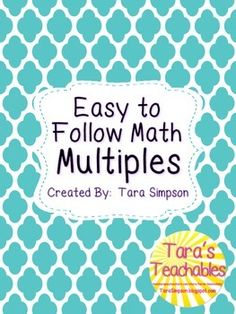 My Easy to Follow Math Multiples are a great addition to multiplication instruction.  Students can easily follow the lines of a digit and read the multiples in order.  This set includes 3 versions of the product.  -Full page multiples-Half page multiples-Quarter page multiplesPrint posters, use at centers or send home copies for practice at home.