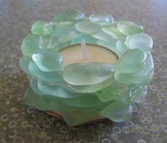 Stacked  LAKE SUPERIOR AQUA Beach Glass tea light candle holder. $50.00 LOVE this idea!!!