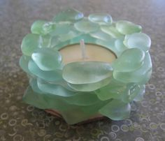 Stacked  LAKE SUPERIOR AQUA Beach Glass tea light candle holder. via Etsy.