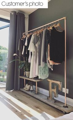 Industrial Clothes Rail Made to order Rustic Reclaimed wood