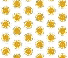 happy sun mustard fabric by charlottewinter on Spoonflower - custom fabric