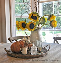 41 Stunning Kitchen Table Centerpiece Ideas 95 Serendipity Refined Inside the French Farmhouse Fall Decorating with Pumpkins Pinecones and 2 Farmhouse Kitchen Inspiration, Farmhouse Kitchen Tables, Farmhouse Decor, Country Kitchen, White Farmhouse Kitchens, Fall Kitchen Decor, Fall Home Decor, Autumn Home, Early Autumn