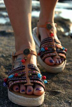 Antislyppery Leather sandals Ancient Greek by DimitrasWorkshop