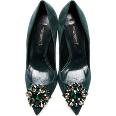 Dolce & Gabbana Green Crystal Accent Suede Pumps