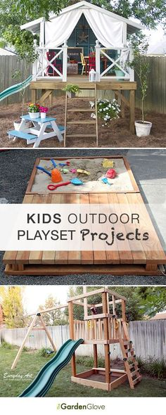DIY Kids Outdoor Playset Projects-Can maybe use a few to add to the tree house.  Love the outdoor racetrack!