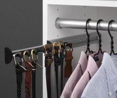 Belt organizer...no more ugly hanger with hooks...no more tipping over yo one side because it's heavier on that side :)