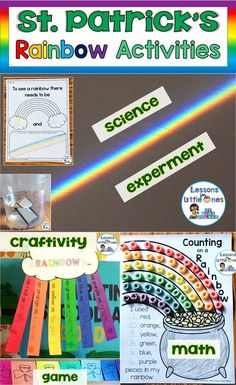 St. Patrick's Day is a great time to teach about rainbows. Here are some favorite rainbow activities that can be easily integrated in to your St. Patrick's day lesson plans including a science experiment, a writing craftivity, a math activity, and a rainbow relay race game.