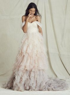 Blush ombré wedding dress is a beutiful on trend look for brides. The hint of colour cascading down the skirt makes this a stunning wedding dress Cheap Wedding Dresses Uk, Ombre Wedding Dress, Sweetheart Wedding Dress, Wedding Dress Trends, Dream Wedding Dresses, Wedding Gowns, Tulle Wedding, Wedding Dresses With Ruffles, Wedding Bride