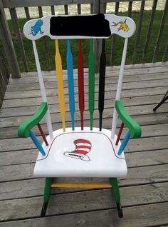 Childs rocking chair custom painted dr suess diy home for Small wooden rocking chair for crafts