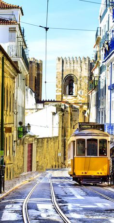 Lisbon Street with the Famous 28 tram. Portugal