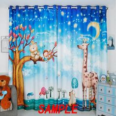 Senisaihon Blackout Curtains Blue Cartoon Small Deer Bear Pattern Thickened Fabric Children Bedroom Curtains for Living Room Curtain Room, Nursery Curtains, Blackout Curtains, Drapes Curtains, Small Deer, Custom Football, Room Darkening Curtains, Dust Collection, Home Textile