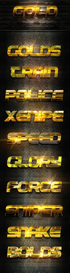 Gold Light Text Effect by JunaediGrafis Gold Light text Effect This Text Effect is a Professional Photoshop Layer Styles, in this set, includes sources files Psd, ASL, an
