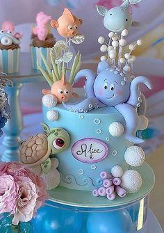 Bolo Fondant, Fondant Cakes, Cupcake Cakes, Baby First Birthday Cake, Birthday Cake Girls, Ocean Cakes, Beautiful Cake Designs, Animal Cakes, Mermaid Cakes