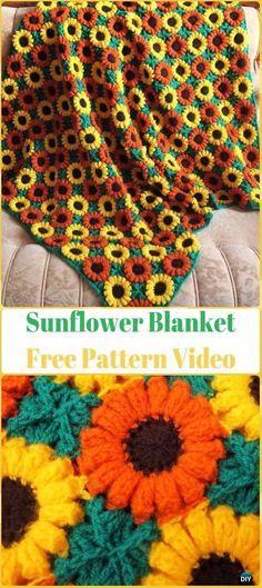 Crochet 3D Sunflower Blanket Free Pattern