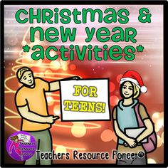 Christmas and New Year's Activities for Teens. This resource will encourage students to look at Christmas over the world, show kindness, reflect on the end of one year and start of another.  These can be used for a variety of age groups and abilities and require no preparation from you at all. Instructions are on each worksheet and students can be as thorough as they like depending on their ability.