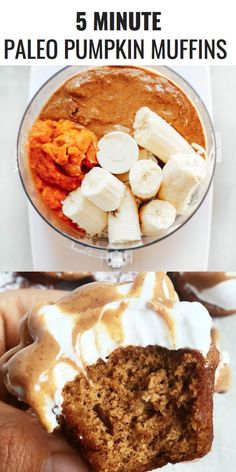 Paleo Pumpkin Muffins 5 Minute 71 calorie paleo pumpkin spice protein muffins Flourless pumpkin banana muffins make for easy meal prep perfect for cozy fall breakfasts or. Paleo Dessert, Healthy Sweets, Healthy Snacks, Healthy Smoothies, Paleo Recipes, Whole Food Recipes, Cooking Recipes, Paleo Pumpkin Recipes, Potluck Recipes