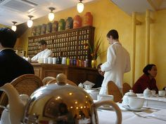 Mariage Freres, my favorite tea salon in the Marais in Paris. Talk about old school charm.