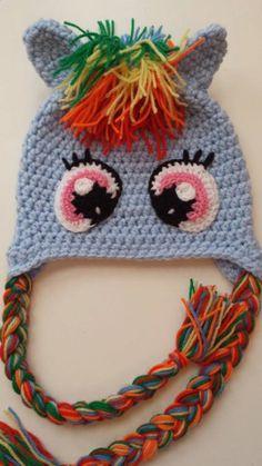 For Izzy My Little Pony Crochet Hat Rainbow Dash Handmade by LaMeliaCrochet, £10.00