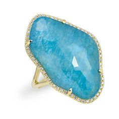 14kt yellow gold blue apatite nuage diamond ring (1,930 NZD) ❤ liked on Polyvore featuring jewelry, rings, gold diamond rings, cocktail rings, gold ring, blue gold jewelry and yellow gold rings