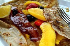 Breakfast Crepes with Fruit, Bacon & Maple Syrup: http://www.samstern.co.uk/recipe/breakfast-crepes-with-fruit-bacon-maple-syrup/
