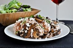 Red wine and goat cheese risotto with caramelized mushroom