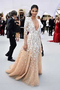 Chanel Iman in Zuhair Murad Couture at the Cannes 2015 AmFAR gala